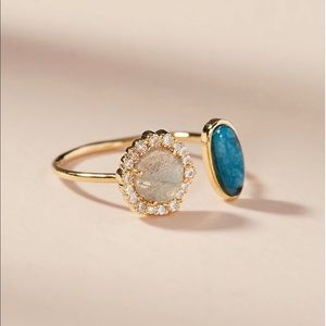 Anthropologie Open Cuff Stone Ring